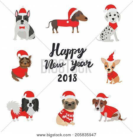 Greeting card for 2018. Happy new year. Set of different breeds of dogs in Christmas costumes
