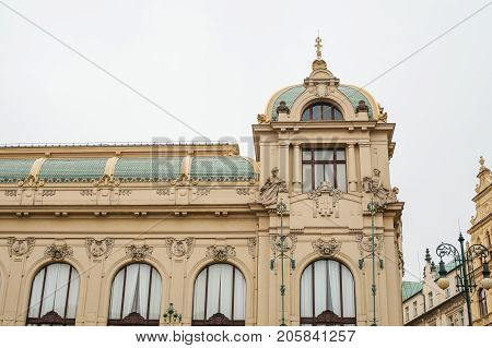 The exterior of a public house or also called a municipal house is one of the attractions of the Republic Square in Prague. Czech Republic. The building is built in the Modernist style.