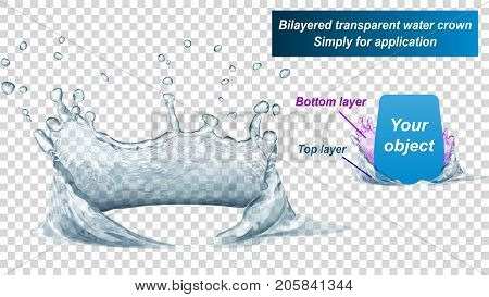 Transparent water crown consist of two layers: top and bottom. Splash of water in gray colors isolated on transparent background. Transparency only in vector file