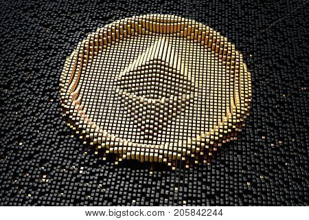 Symbol ethereum from golden small cubes, towering above the background of black small cubes.