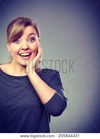 Happy Joyful Emotional Girl Portrait.