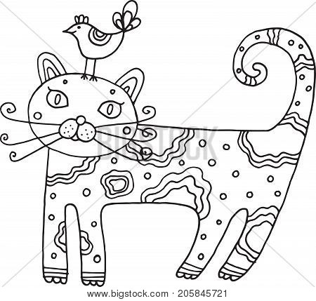 Kid's drawn cat with bird. Isolated vector line art for children's coloring book. Illustration for coloring page.