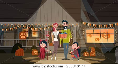 Happy Family Celebrate Halloween Parents And Kids Wear Vampire Costumes Holiday Decoration Horror Party Concept Flat Vector Illustration