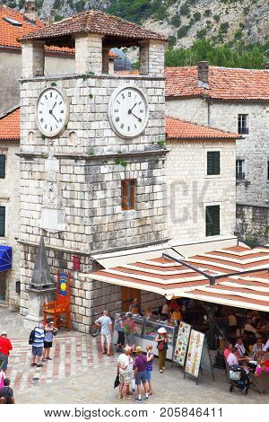 Kotor, Montenegro - June 15, 2017: The Tower With Clock on Square of the Arms in Old town of Kotor