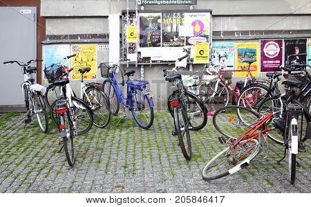 Stockholm, Sweden - July 25, 2017: Parking lot for bicycles in Stockholm