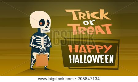 Happy Halloween Banner Holiday Decoration Horror Party Greeting Card Cute Cartoon Skeleton Trick Or Treat Flat Vector Illustration