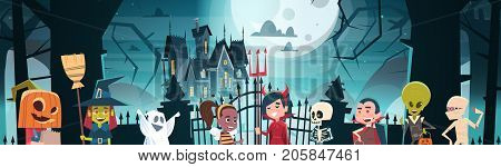 Happy Halloween Banner Holiday Decoration Horror Party Greeting Card Cute Cartoon Monsters Walking To Dark Castle With Ghosts Flat Vector Illustration