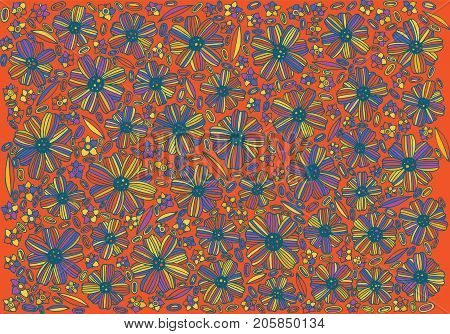 Floral background pattern - coloring page with mexican flowers. Psychedelic boho ethnic background. Doodle graphic hand drawn vector illustration for adult coloring book.