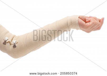 Female hand elastic bandage injury on white background isolation