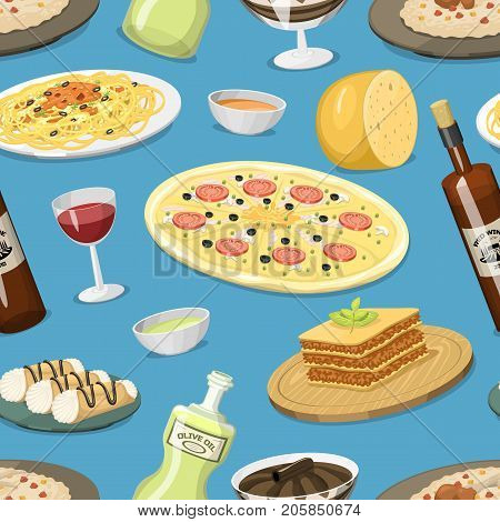Cartoon italy food cuisine ingredient homemade Italian cooking seamless pattern background fresh traditional lunch vector illustration. Dish plate sauce vegetarian cooked diet healthy snack.