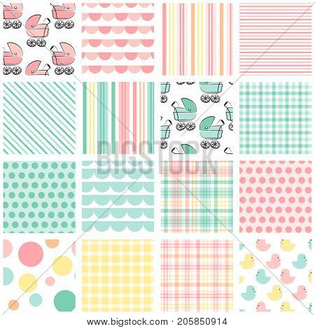 Baby Patterns - 16 seamless baby patterns in shades of pink, peach, mint green and yellow for invitations, announcements, cards, baby shower, gift wrap, tag, backgrounds, borders and more.
