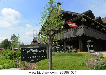 VERMONT, USA - MAY 30, 2015: Main Building of Trapp Family Lodge, Stowe, Vermont, USA. Trapp Family Lodge is an Austrian style named after the Von Trapp Family, which is the inspiration of the famous movie The Sound of Music.