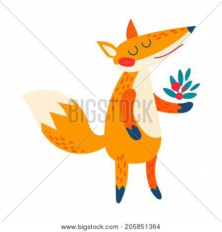 Cartoon fox. Funny cute animal stands with a bouquet of berries. Suitable for prints for children s clothing, bag childish poster, invitation Forest character for natural design. Isolated vector