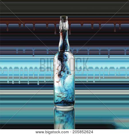 Modern art. Bottle with floating substance inside.  3D rendering