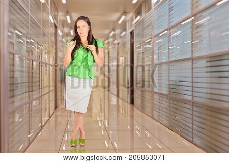 Business woman with glasses poses in hallway in office building, collage
