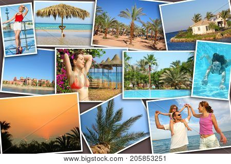 Collage with shoots of tropical sunny landscapes and resting people (six people)
