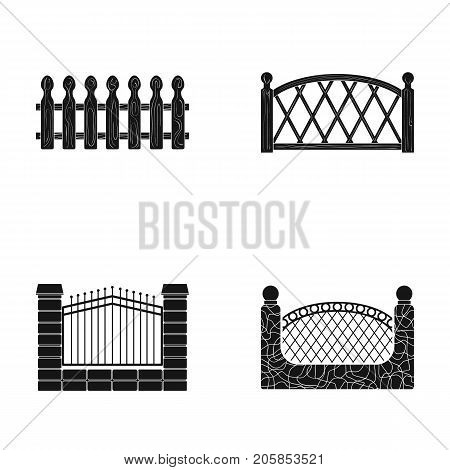 A fence of metal and bricks, wooden palisade. A different fence set collection icons in black style vector symbol stock illustration .