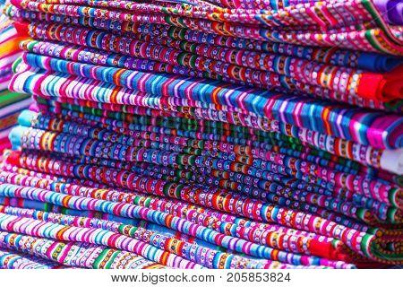 Authentic colorful fabric in Peru