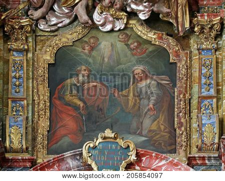 VARAZDIN, CROATIA - OCTOBER 25: Saint Anne and Joachim, the parents of the Virgin Mary, altarpiece in cahedral of Assumption in Varazdin, Croatia on October 25, 2012.