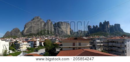 Panoramic view of Kalabaka Greece with the monolith rocks of Meteora in background