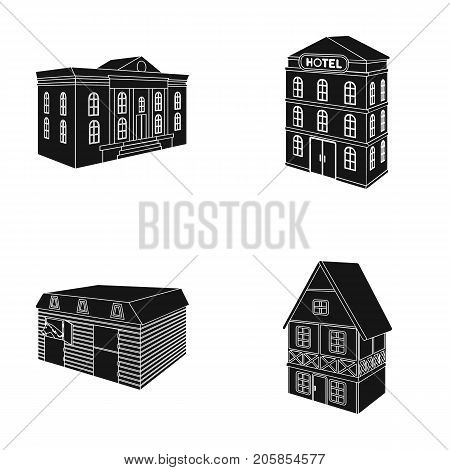 The museum building, a three-story hotel, a stable at the racecourse, a residential cottage. Architectural building set collection icons in black style vector symbol stock illustration .
