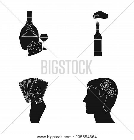 Bottle, a glass of wine and cheese, clogging with a corkscrew and other  icon in black style. A combination of cards in hand, a person's head and an idea generator icons in set collection.