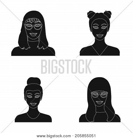 The face of a girl with glasses, a woman with a hairdo. Face and appearance set collection icons in black style vector symbol stock illustration .