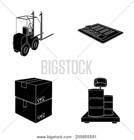 Forklift, delivery slips, packaged goods, cargo on weighing scales. Logistics and delivery set collection icons in black style isometric vector symbol stock illustration .