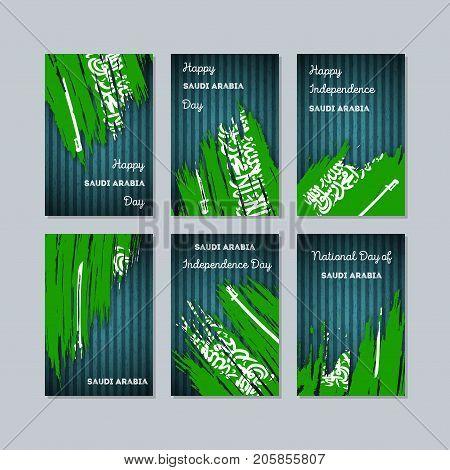 Saudi Arabia Patriotic Cards For National Day. Expressive Brush Stroke In National Flag Colors On Da
