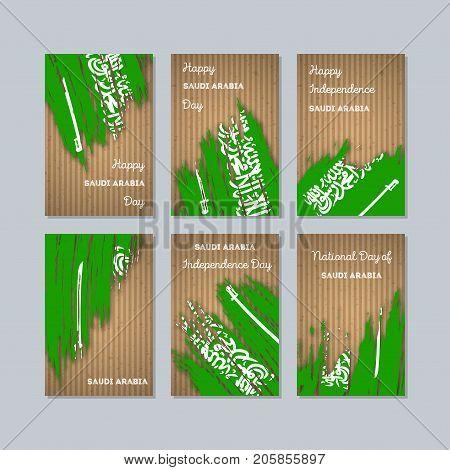 Saudi Arabia Patriotic Cards For National Day. Expressive Brush Stroke In National Flag Colors On Kr