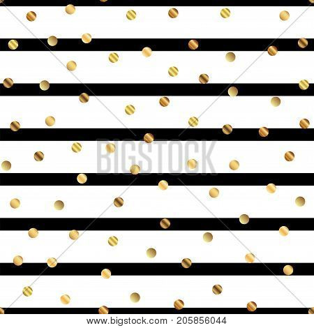 Golden Dots Seamless Pattern On Black And White Striped Background. Comely Gradient Golden Dots Endl