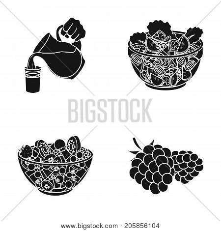 Fruit, vegetable salad and other types of food. Food set collection icons in black style vector symbol stock illustration .