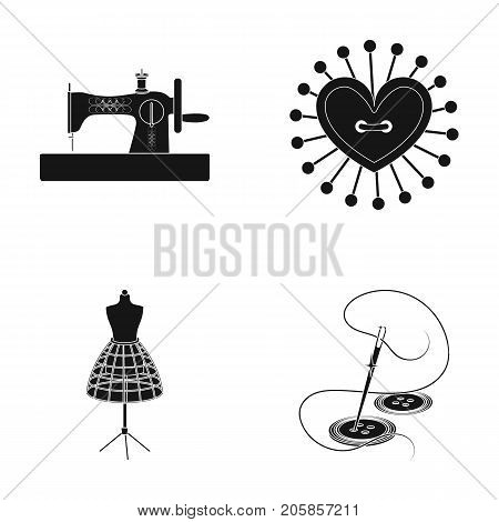 Needle and thread, sewing machine, pincushion, dummy for clothing. Sewing and equipment set collection icons in black style vector symbol stock illustration .