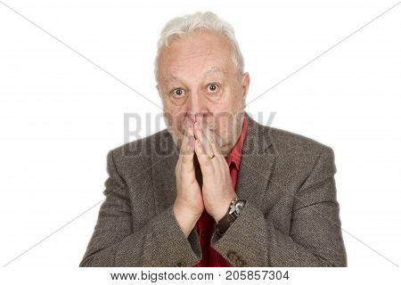 Frightened male senior - on bright background