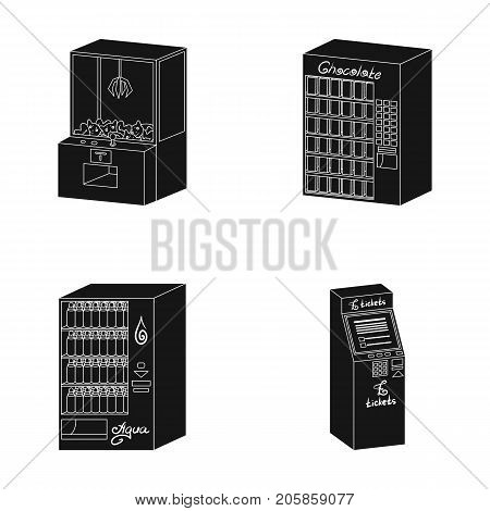 A game machine, a ticket sales terminal, an automaton for selling aqua and chocolate. Terminals set collection icons in black style isometric vector symbol stock illustration .