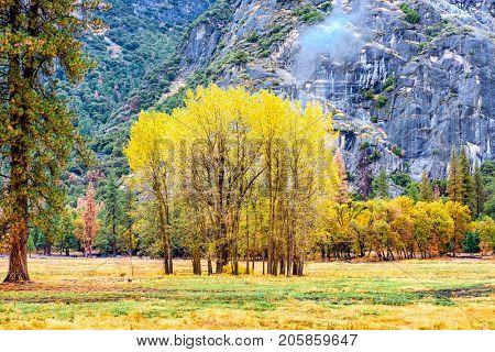 Yosemite National Park Valley at cloudy autumn morning. California, USA.
