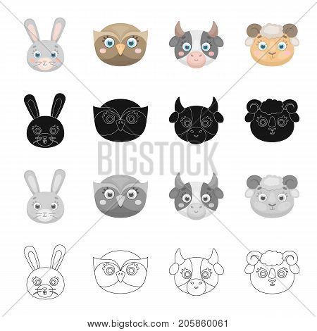 Different kinds of animals, muzzle of a hare, an owl, a cow and a sheep. Muzzle of an animal set collection icons in cartoon black monochrome outline style vector symbol stock illustration .