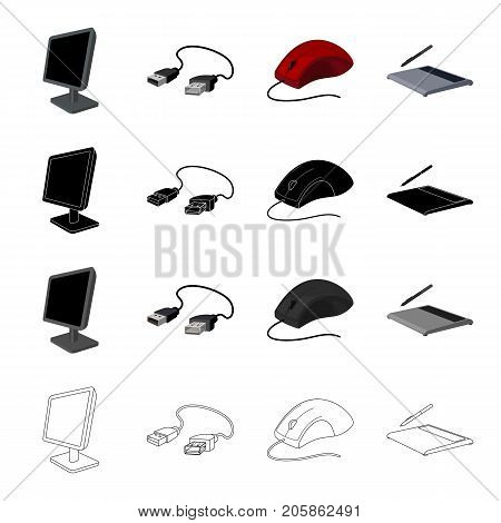 Computer equipment monitor, usb cable, computer mouse, graphic tablet. Computer Accessories set collection icons in cartoon black monochrome outline style vector symbol stock illustration .