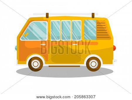 Camping yellow bus isolated on white background. Transportation item