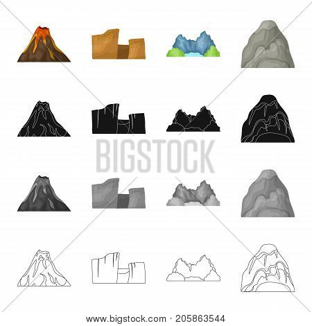 Mountains, nature, stone, and other  icon in cartoon style.Rock, material, building icons in set collection.