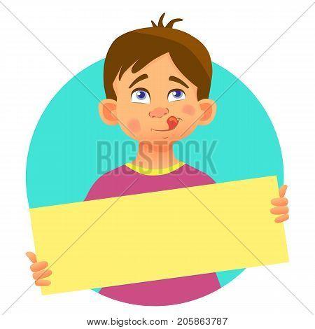 Boy holding blank poster. Blank message illustration. Hands holding blank paper