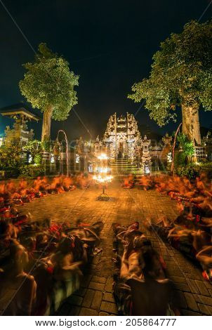 Ubud, Indonesia - August 8, 2016: Traditional Kecak Fire Dance ceremony in balinese Hindu temple.