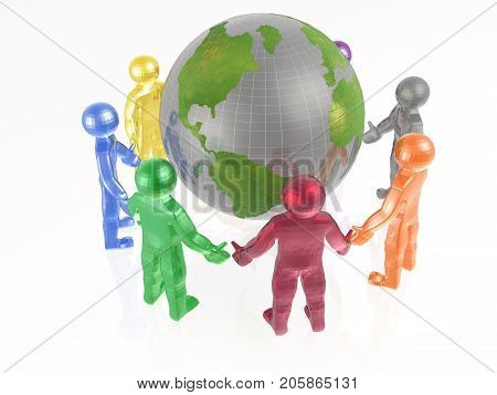 Round dance of color men on the white background 3D illustration.