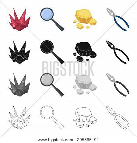 Ruby is a precious mineral, a magnifying glass, a piece of rock, jewelry pincers. Precious mineral set collection icons in cartoon black monochrome outline style vector symbol stock illustration .