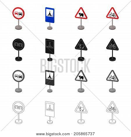 Index on the road, prohibiting, warning, indicating and other types of signs. Road sign set collection icons in cartoon black monochrome outline style vector symbol stock illustration .