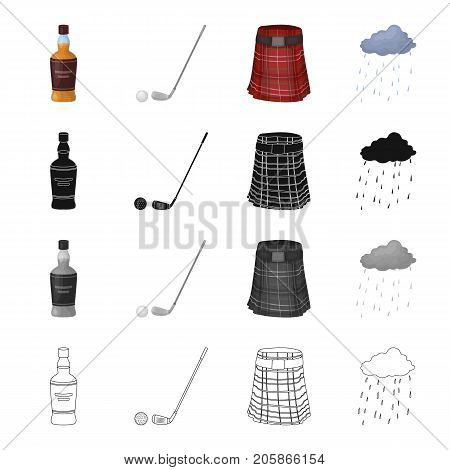 A bottle of Scotch whiskey, ball and putter for golf, , a Scots skirt, the weather in Scotland. Country Scotland set collection icons in cartoon black monochrome outline style vector symbol stock illustration .