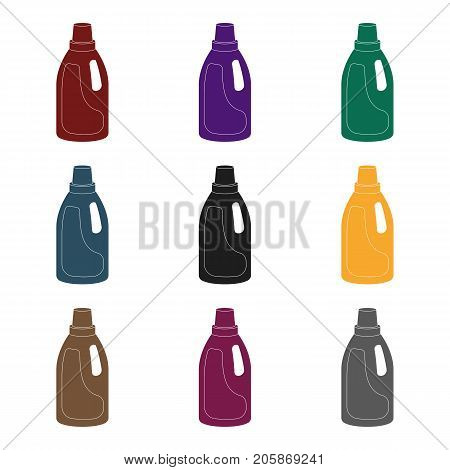 Laundry detergent icon in black design isolated on white background. Cleaning symbol stock vector illustration.