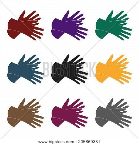 Rubber gloves icon in black design isolated on white background. Cleaning symbol stock vector illustration.