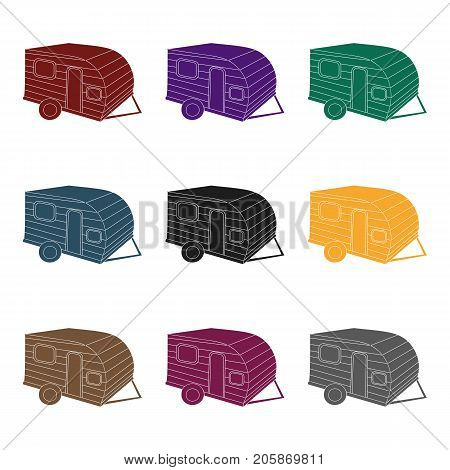 Green caravan icon in black design isolated on white background. Family holiday symbol stock vector illustration.