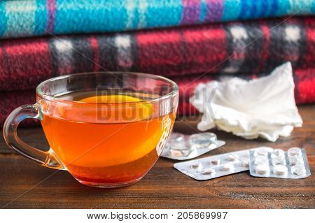 Drugs For Colds - Pills, Spray. Folk Remedies - Lemon, Tea, Raspberry Jam. Thermometer, Handkerchief